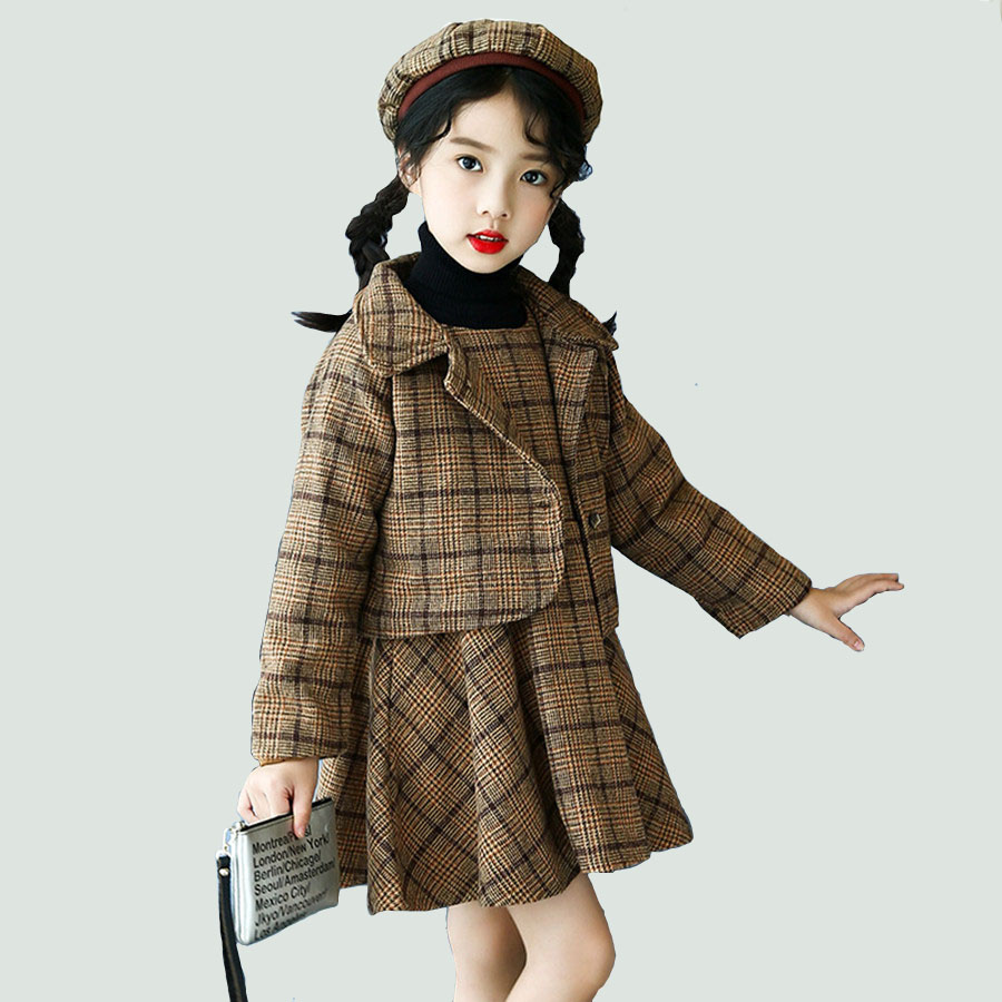 Winter Girls Set European Plaid Jacket For Girls Beautiful Spring Thick Warm Dress Set Children Vintage Brown Kids Clothes 3 PCS<br>