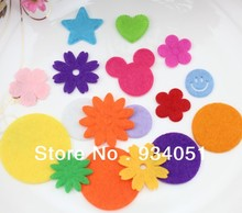 1000pcs/lot Multi Colors Handmade Felt Patches 17-39mm Fabric Felt Circles, Flowers, Stars, Hearts, Smiles Mixed Free Shipping