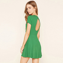 2016 Summer Dresses For Women Korean Fashion Girl Mini Dress Short Sleeve Candy Color Vestidos Femininos Casual Slim Basic Dress