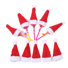 30Pcs Hot Sale Mini Santa Claus Hat Christmas Xmas Holiday Lollipop Top Topper Cover for Festival Christmas Decoration For Home(China)