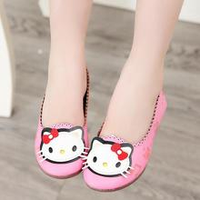 Spring Autumn 2017 Princess Girls Shoes Cute Cartoon Hello Kitty Design Children Flats Kids Casual Bow Shoes Doug shoes 21-36