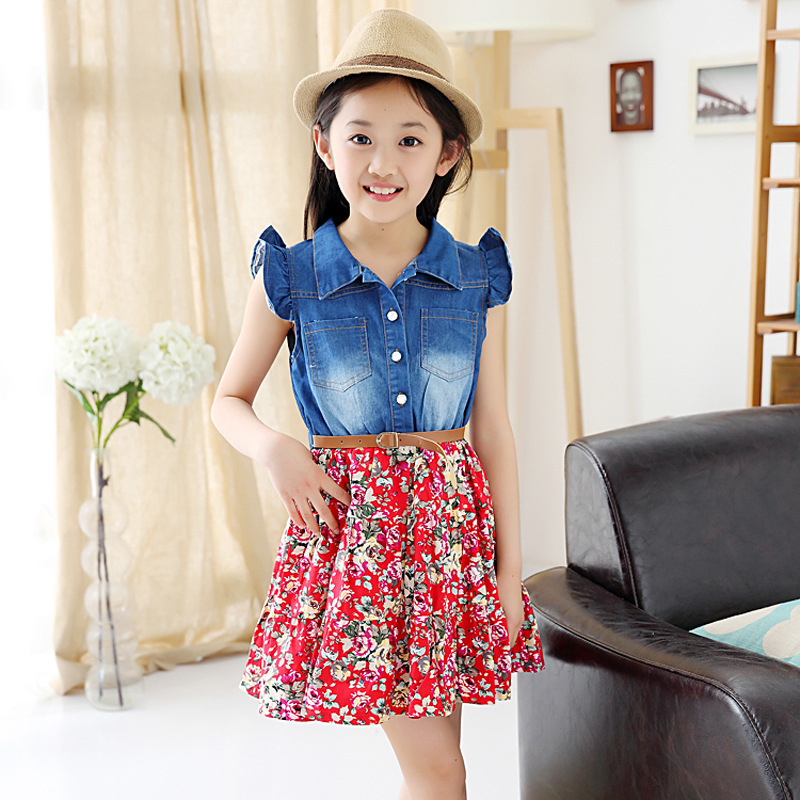 Summer New Pattern Childrens Girl Cowboy Small Flying Sleeve Korean Split Joint Dress Trade Childrens Kids Clothing<br>