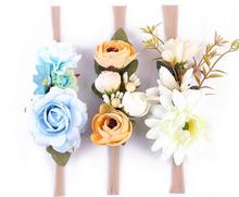 Fashion 3pcs Flower Crown headwear girl Flower Tie back halo Bridal Flower Crown headbands hair Accessories photo prop For Kids(China)