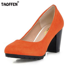 TAOFFEN Ladies High Heel Shoes Gladiator Shoes Women Platform Square Heeled Footwear High Heels Pumps Shoes Size 34-43 PA00904