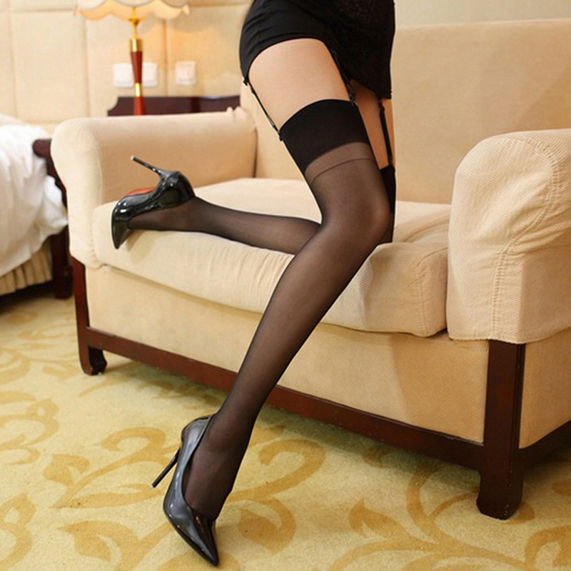 Women wide rib top cuff sexy vintage nylon stockings thigh high stocking oil flashing medias glitter ladies collant