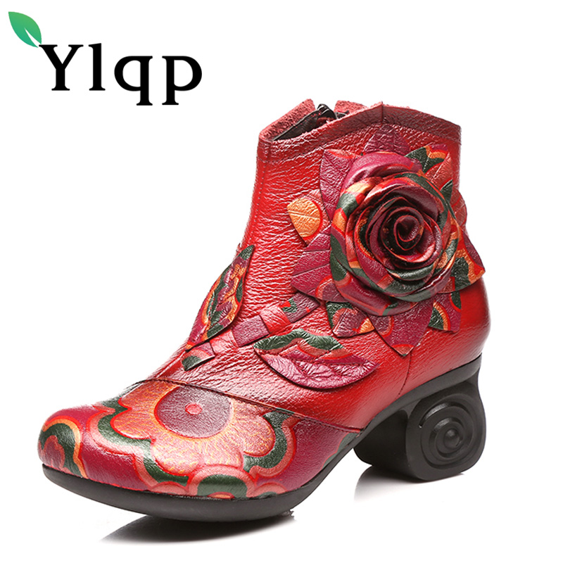 Ylqp Retro Flower Genuine Leather Women Boots Handmade Vintage Comfortable Shoes Woman High Heel Ankle Boots Sapato Feminino<br>