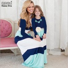 Sunny eva stripe mother and girl dress full sleeve Matching mother and daughter clothes family set Dress up mom and daughter