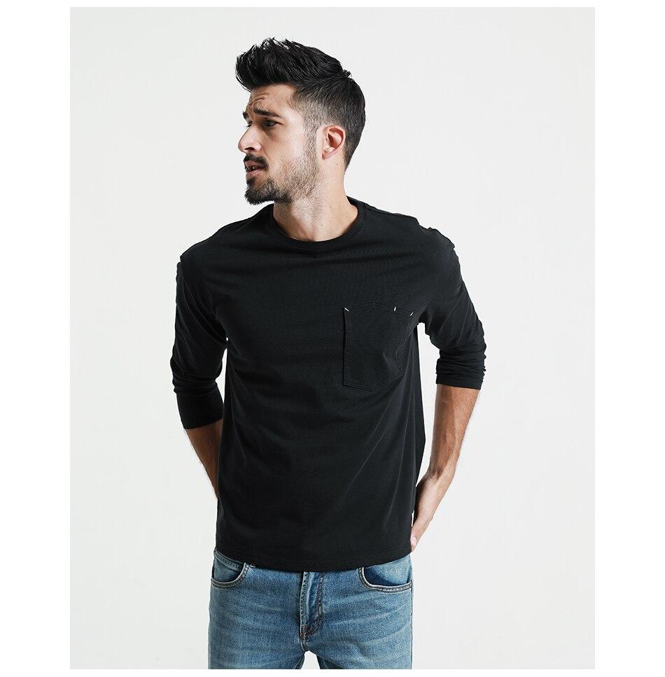SIMWOOD 2018 Automne À Manches Longues T-shirt Hommes 100% Pur Coton Slim Fit Drôle de Mode De Poche Tops Haute Qualité TC017004 19