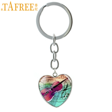 TAFREE Vintage Violin jewelry horn keychain musical instrument heart pendant music lover musician key chain ring holder HP152