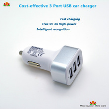 Quality 3A high-power 3 Port USB car charger Fast charging FOR iPad I5 I6 Samsung Smartphone Tablet IC safe charging packaging