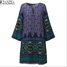 Buy Plus Size ZANZEA Womens O-Neck Keyhole Floral Print 3/4 Sleeve Casual Long Tops Party Summer Mini Dress Vestido 2017 for $9.69 in AliExpress store
