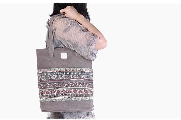 Canvasartisan Brand new canvas women handbags floral vintage female shopping shoulder bag zipper closure tote hand bags 1