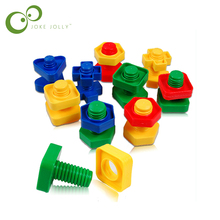 3pcs/lot Screw building blocks plastic insert blocks nut shape toys for children Educational Toys  montessori scale models