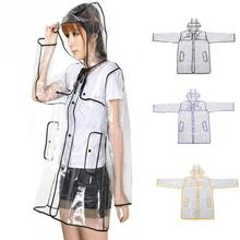 Cheap Sale Transparent Clear PVC Raincoat Summer Fashion Waterproof Hooded Rain Coat Poncho Jackets Free Size(China)
