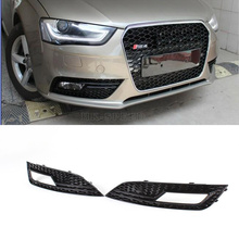 RS4 STYLE FULL BLACK Fog Light Cover A4 Lamp Grill Grille Grid For Audi FITS a4 b9 standard bumper non sline 2013UP