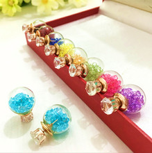fashion brand jewelry glass Flowers Crystal stud earring double imitation pearl side Summer style Daisy earring for women 8ED234(China)