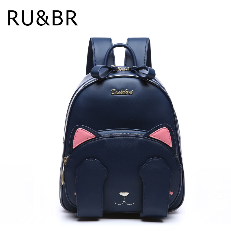 RU&amp;BR Fashion Casual Wild Backpacks Lovely Cat Animal Pattern Shoulders Bags Student School Bag PU Leather Waterproof Backpack<br><br>Aliexpress