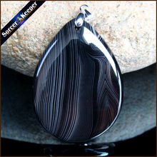 Fashion Women Man Necklace Pendant Natural Black Botswana Agates Stone Pendants Slide Healing Crystals for Jewelry Making JS505