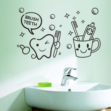Free shiping Cute Brush Teeth Smile Face hotel bathroom home decal wall sticker kids room decor wedding decoration(China)
