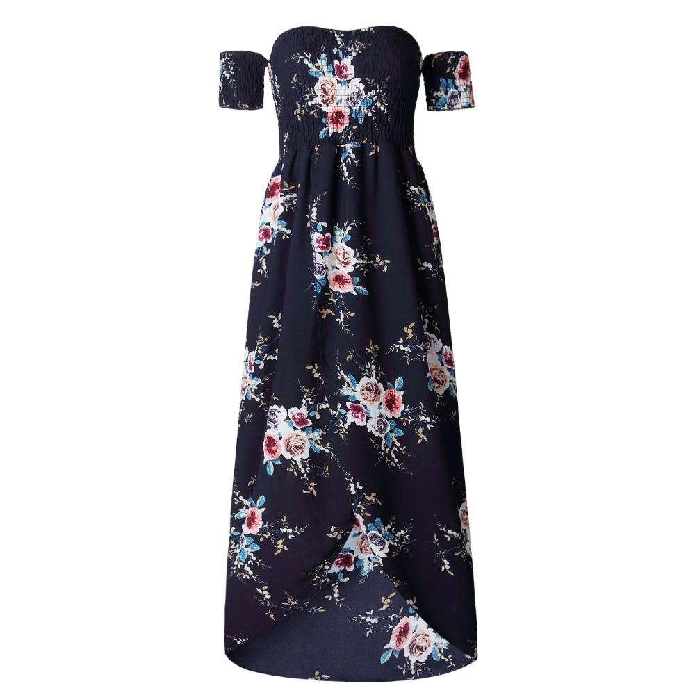 LOSSKY Off Shoulder Vintage Print Maxi Summer Dress 7