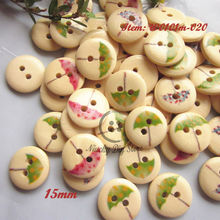250pcs 15mm Umbrella pattern wood buttons for kids clothing accessories craft /scrapbooking/ sewing accessories wholesale