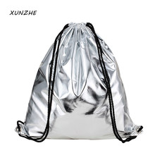 Fashion Gold and silver Storage Bags organizer school bags for teenagers sac a dos drawstring bag Debris / toy storage package(China)