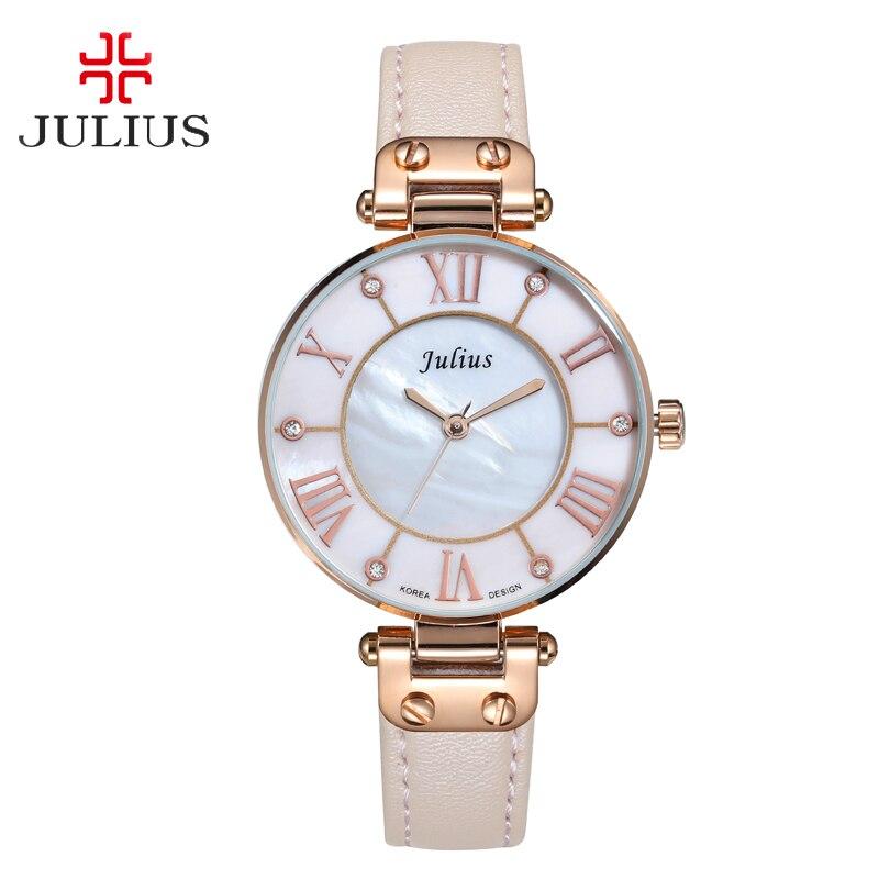 Lady Womens Watch Japan Quartz Hours Fine Fashion Dress Bracelet Girl Birthday Gift Leather Clock Shell Retro Julius Box<br>