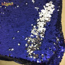 1 Yard Flip Up Blue/Silver Reversible Sequin Fabric Mermaid Sparkly Stretch Lace Fabric Women Dress/Table Cloth/DIY Decro Fabric(China)