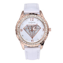 GERRYDA Diamond Watches Women Crystal Steel Dial Analog Quartz Watch Ladies Casual Dress Clock Women's Leather Wrist Watches #LH