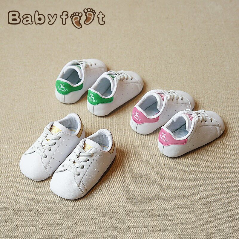 Babyfeet spring and summer Microfiber Leather Toddler sneakers Baby Shoes 0-1 years old boy and girl white shoes for 6 months<br>