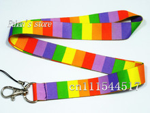 Free Shipping Rainbow cross striation phone neck strap lanyard ID Badge Holder Mix order(China)
