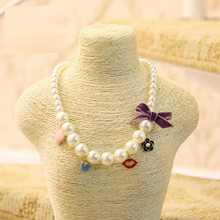 Lovely Beads Jewelry  Children Bowknot Imintation Pearl Necklace Handmade Personalized Necklace For Kids Baby Christmas Gift