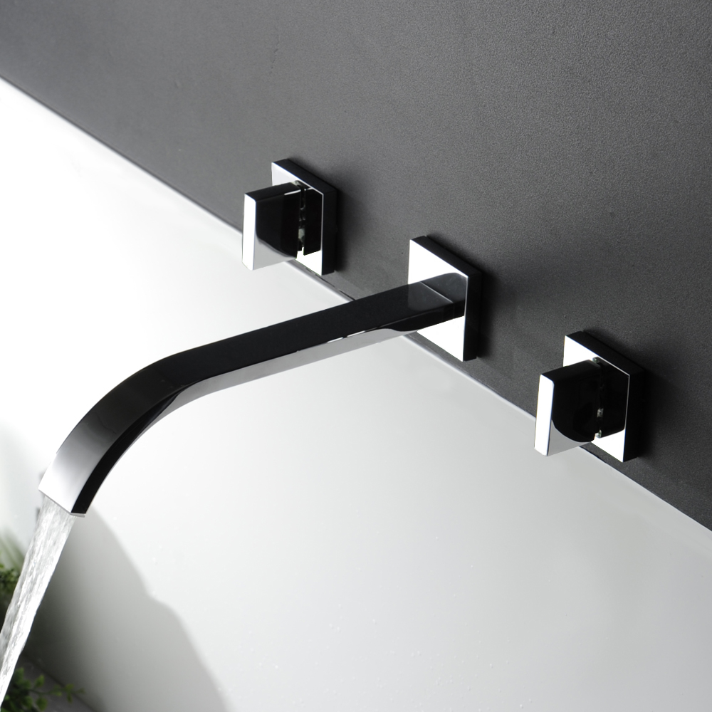 Waterfall Widespread Contemporary Bathroom Sink Sanitary Wall Mount ...