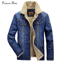 M-4XL men jacket and coats brand clothing denim jacket Fashion mens jeans jacket thick warm winter outwear male cowboy YF055(China)
