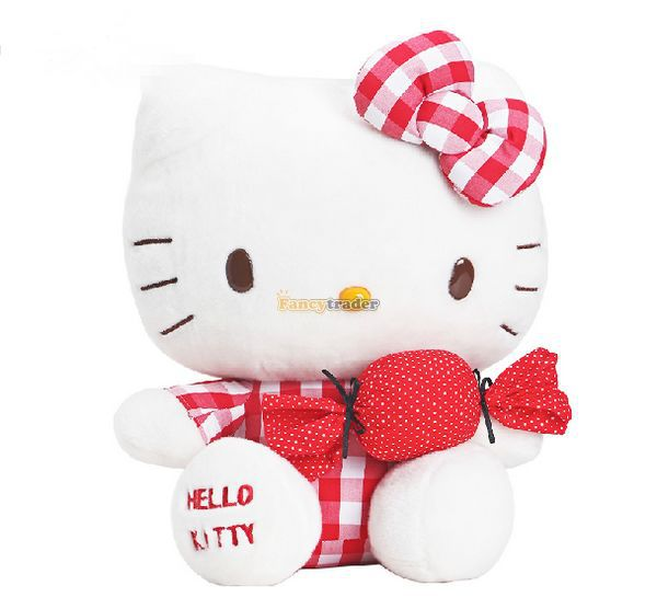 Fancytrader Copyrighted! 16 / 40cm Lovely Stuffed Soft Plush Sweet Big Hello Kitty Toy, Nice Gift, Free Shipping FT50864<br><br>Aliexpress