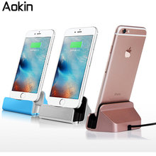 Aokin Charger Dock Stand 2 In 1 Micro USB Desktop Stand Station Cradle Fast Charging For iPhone 5 SE 6 6S For Samsung S8 Charger(China)