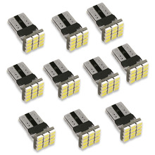 10PCS/Lot T10 3020 W5W 12-SMD Car White LED Light DC12V Canbus No Error Decoder Car External Lights License Plate Lamp