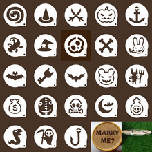 Halloween Ghost Cappuccino Coffee Cookie Stencils Barista Template Biscuit Dessert Decor Pastry Shop Mold geaute Cooking Tools