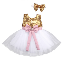 Princess Baby Kids Flower Girls Dresses Sequins Bowknot Party Ball Gown Formal Dress Sleeveless Girl