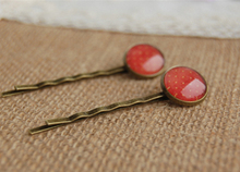 Fashion Red Tone Dots Glass Cabochon Hair Pins for Girls Simple Antique Bronze Bobby Pins for Kids Christmas Small Clips fq005(China)