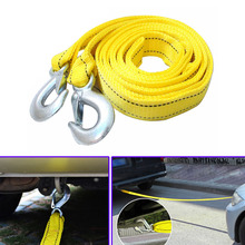 Auto Car Vehicle Towing Ropes 4Meters Metre 5 Tons Nylons Iron Hooks Emergency Anti-shedding Thicken(China)