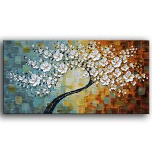 100%hand-painted Contemporary Art Oil Painting On Canvas Texture Palette Knife Tree Paintings Abstract Art 3D Flowers Paintings