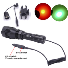 Hunting LED Flashlight Green Red Light 300 Meters Lighting Distance Torch HS-802+Dual mode Remote Pressure Switch+Gun mount