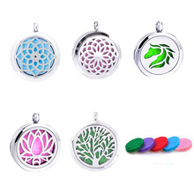 5pc Mixed 100% 316L Round Stainless Steel Locket Pendants For Dream Catcher Perfume Essential Oil Diffuser Aromatherapy Necklace