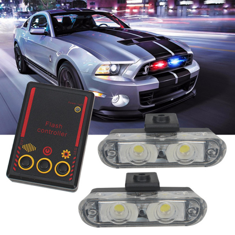 High Brightness 12V 2X2 4LED Red/Blue Yellow Car Police Strobe Flash Light Emergency Warning 3 Flashing Fog Lights Car Styling