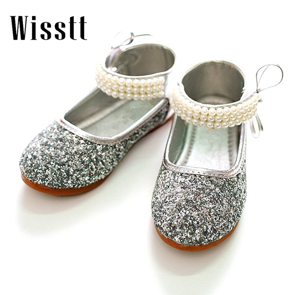 2017cute girl causal shoes solid crystal pearls princess leather shoes  girls  children performance party dance shoes