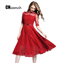 CNsamch Make GA9408 2017 New Embroidery Lace Socialite Pleated Lace Dress Half Sleeve Female High Empire Belt Fashion Dress