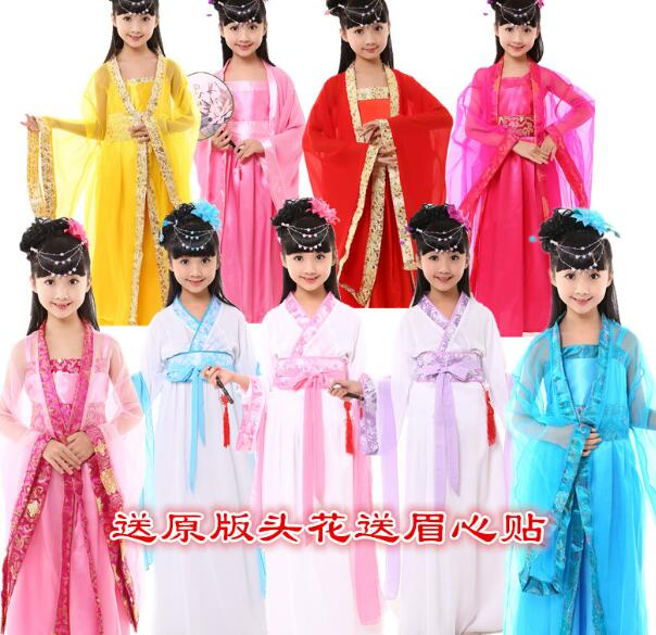 2017 hot Girl ancient Chinese traditional national costume Hanfu red dress princess children hanfu dresses cosplay girls kids<br><br>Aliexpress