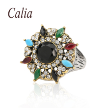 Vintage Jewelry Rings For Women Multicolor Resin Austrian Crystals Black Red Color Retro  Fashion Party Accessories Finger Ring