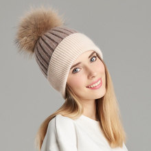 Women Real Fur Pom Pom Hat Female Winter Wool Autumn Knitted Beanies Fur Ball Cap Ladies Cashmere Natural Raccoon Fur Pompom Hat(China)